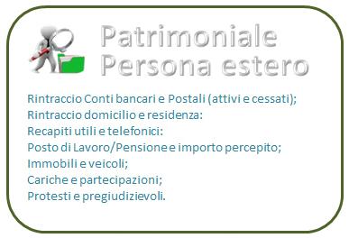 Indagine patrimoniale persona estero Plus (prezzo compreso IVA)